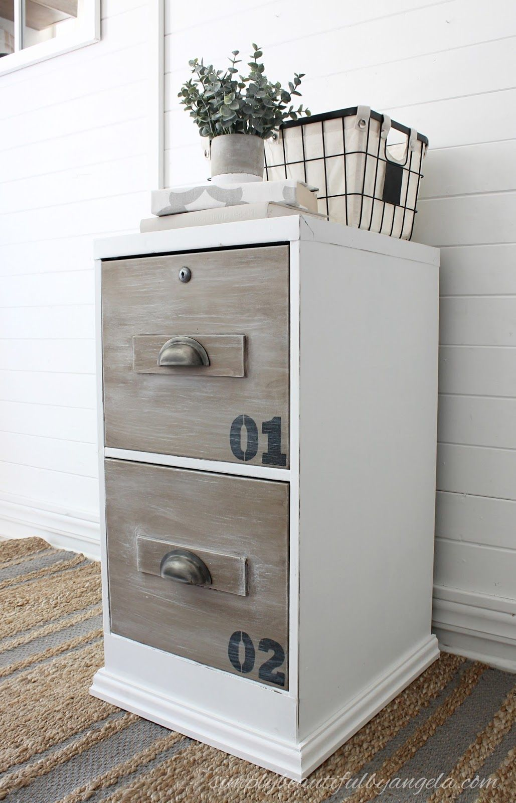 dated file cabinet gets an industrial makeover modern farmhouse rh pinterest at
