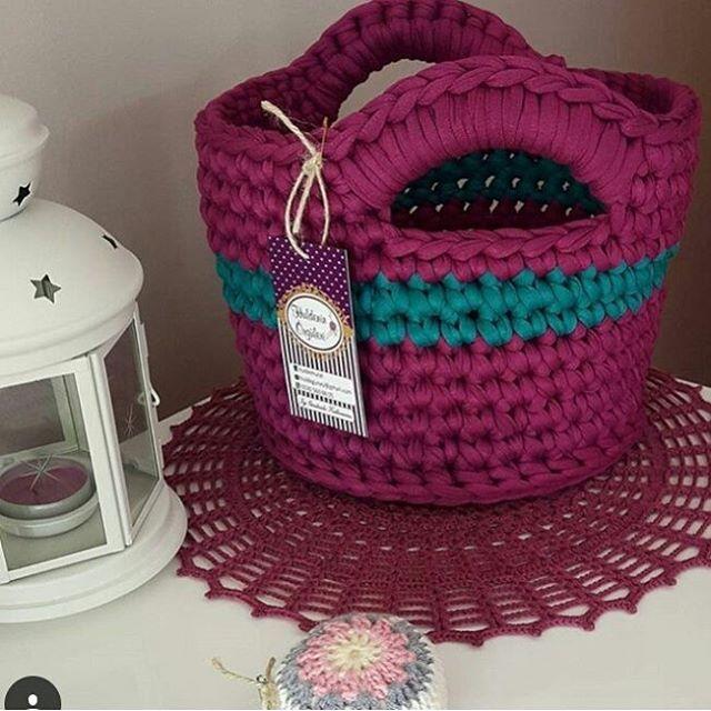 Amei essa cor! @huldemurat #cestoorganizador #cestodemalha #crochet #croche #fiodemalha