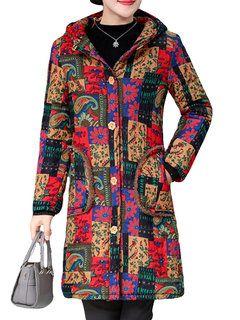 Vintage Print Hooded Plus Velvet Coat for Women - Newchic Plus Size Outerwear 1