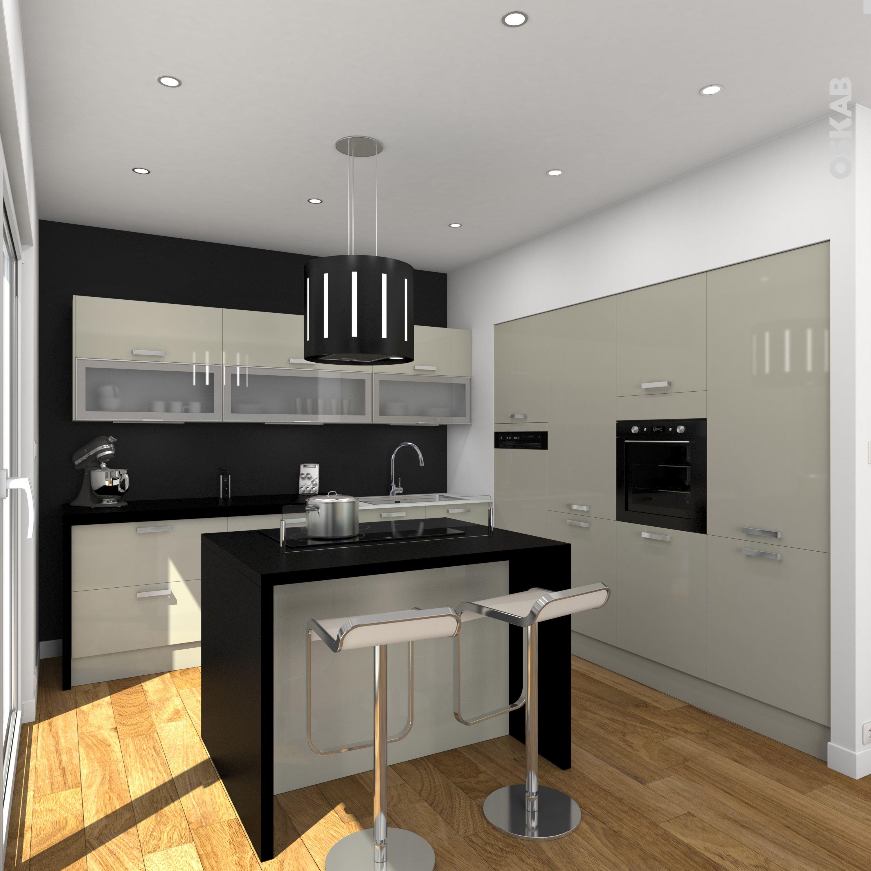 Cuisine noire et argile au style design meuble couleur argile plan de travail et ilot central - Petite hotte de cuisine ...