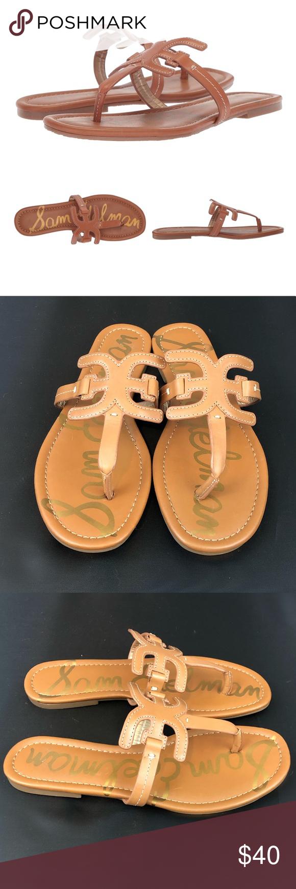 Sam Edelman Carter Saddle Leather Sandals 7 5m With Images Leather Flip Flop Sandals Saddle Leather Leather Flip Flops