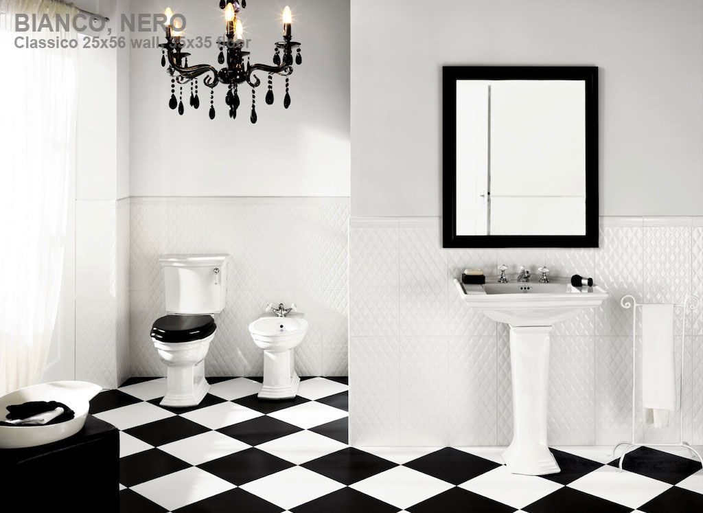 Textured white and large tile create a clean simple look