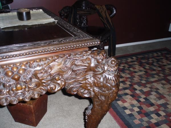 ancient hand carved wood chinese dragon table with removable top and hidden  drawers with unusual matching dragon chair antique appraisal - Chinese Wood Carvings Ancient Hand Carved Wood Chinese Dragon