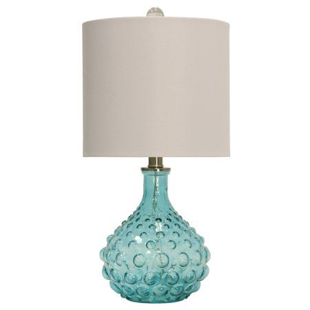 20 table lamp blue finish off white hardback fabric shade rh pinterest com