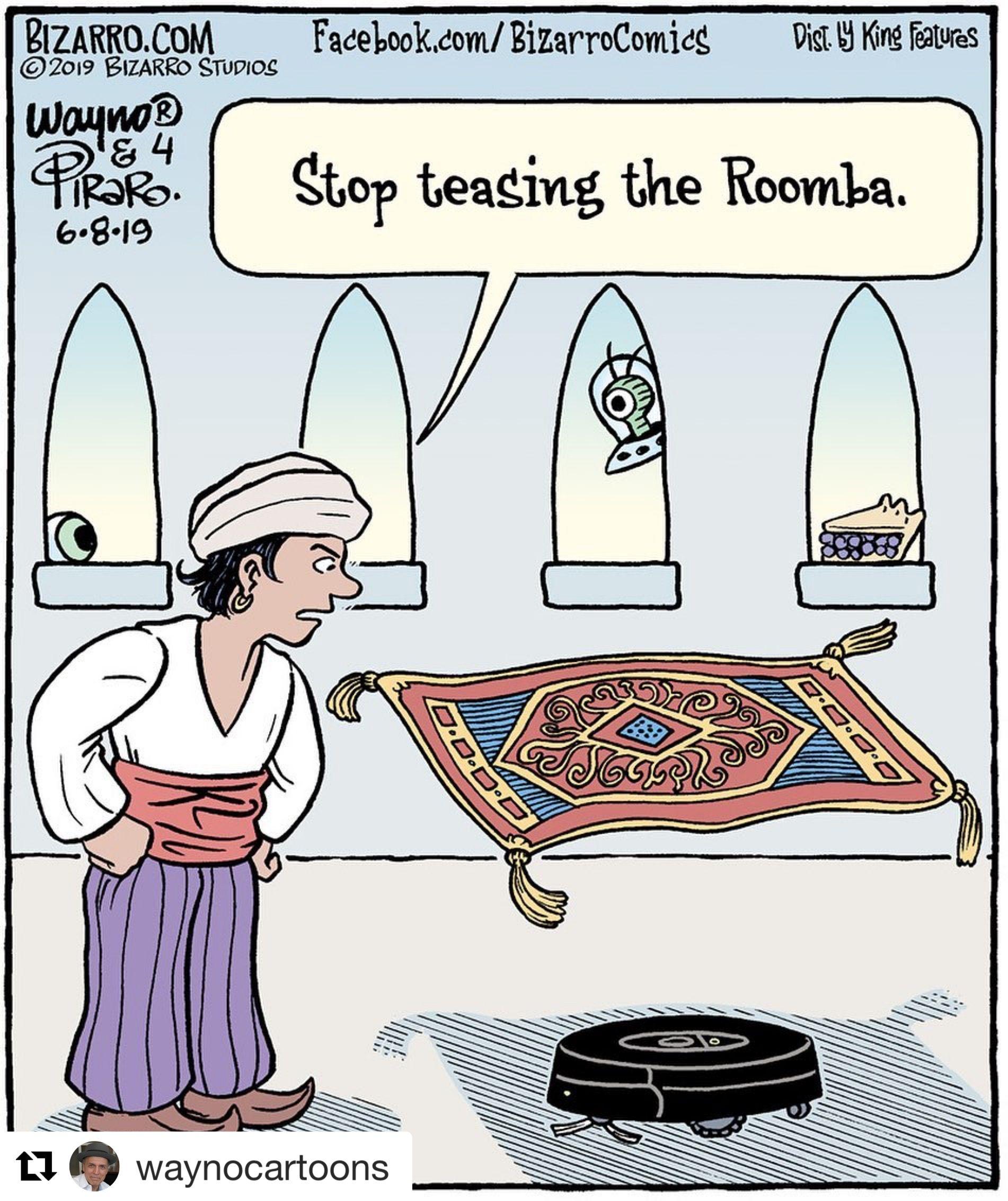 Repost Waynocartoons With Get Repost Mocking Carpet Comicstrip Waynoandpiraro Aladdin Roomba Vacuum C Bizarro Comic Comics Kingdom Cartoons Comics