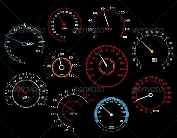 Speedometers Set #GraphicRiver Speedometers set isolated on background for racing sport or transportation industry design. Editable EPS8 and JPEG