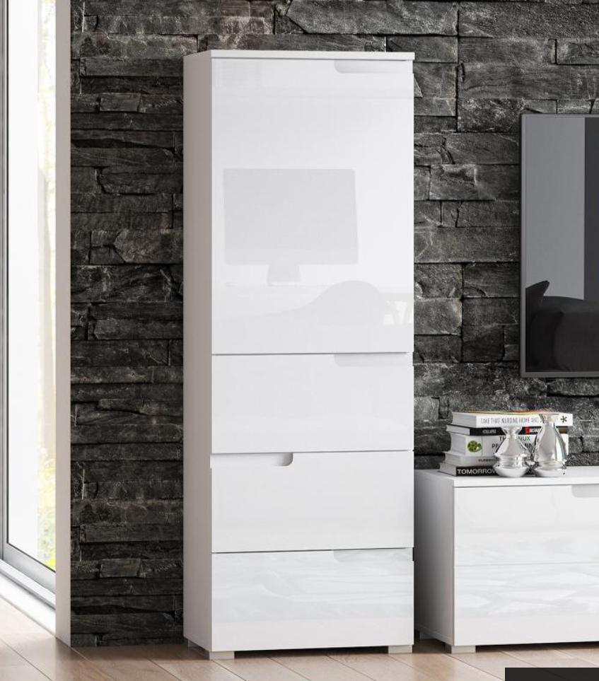 Cellini White Gloss Tallboy Slim Storage Unit Save Upto 50 At Furniturefactor In 2020 Master Bathroom Ideas Diy Cupboard Storage Bathroom Cupboard Storage