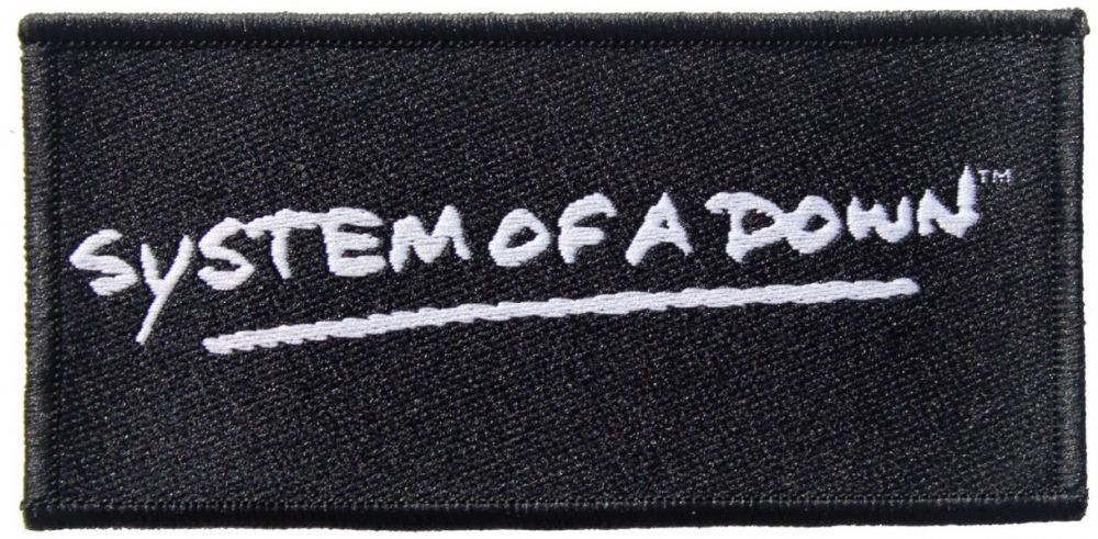 Official System Of A Down Sew-on Patch measuring approx 100mm x 50mm featuring the logo on black design Ofiicially Licensed Merchandise View more