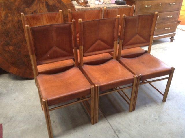 Sedie cinesi ~ Set sedie legno e cuoio niente di nuovo usato antichità e
