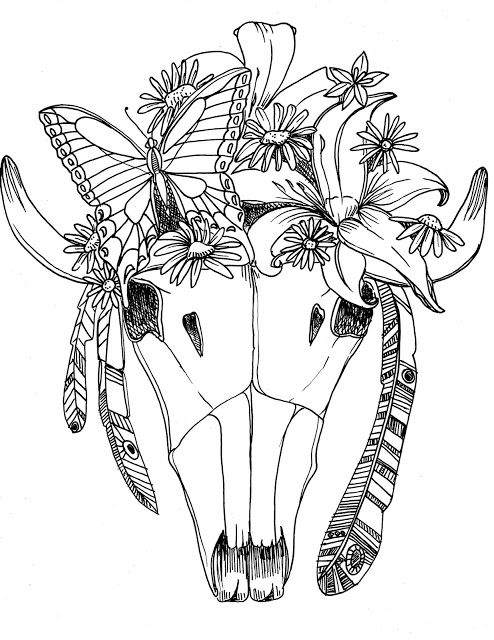 A Free Download Free Coloring Page Free Printable For You From Crooked Feather Studio A Decorated Bull Skull Coloring Pages Free Coloring Pages Bull Skulls