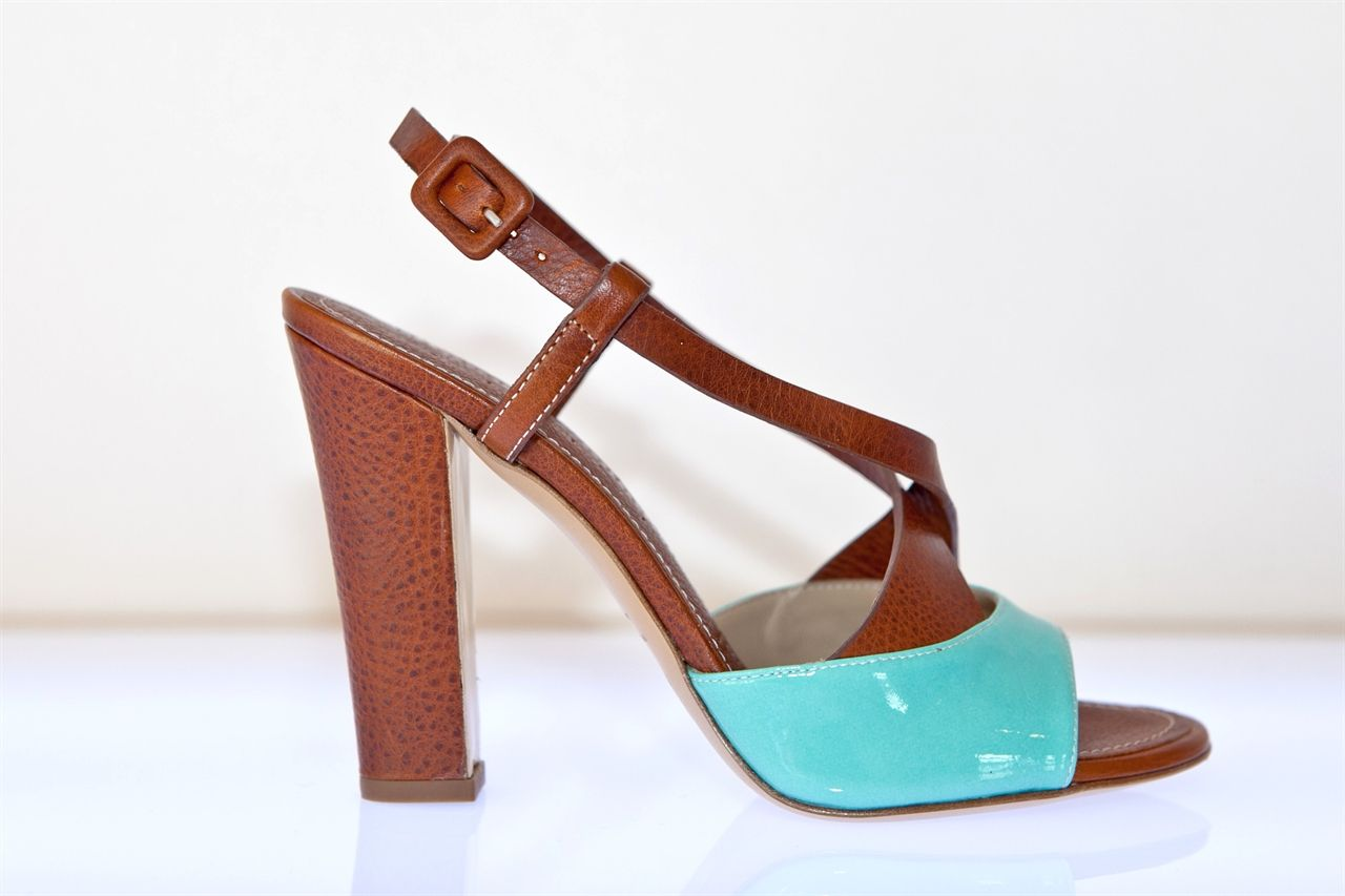 sandals with heels brown & turquoise, VICINI €370 (free shipping)