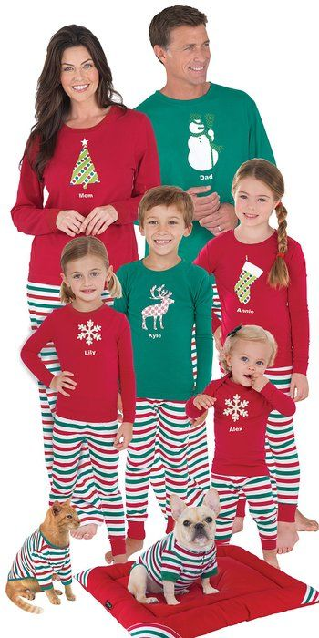 0d5aa1fc69 Red and Green Holiday Stripe Matching Pajamas for the Whole Family ...