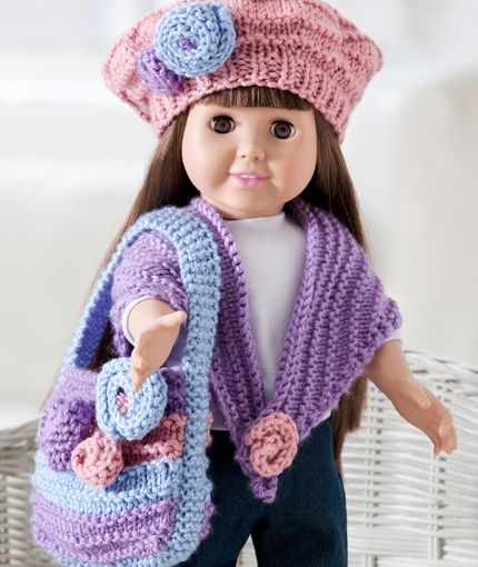 Floral Knit Doll Accessories Free Pattern From Red Heart Yarn