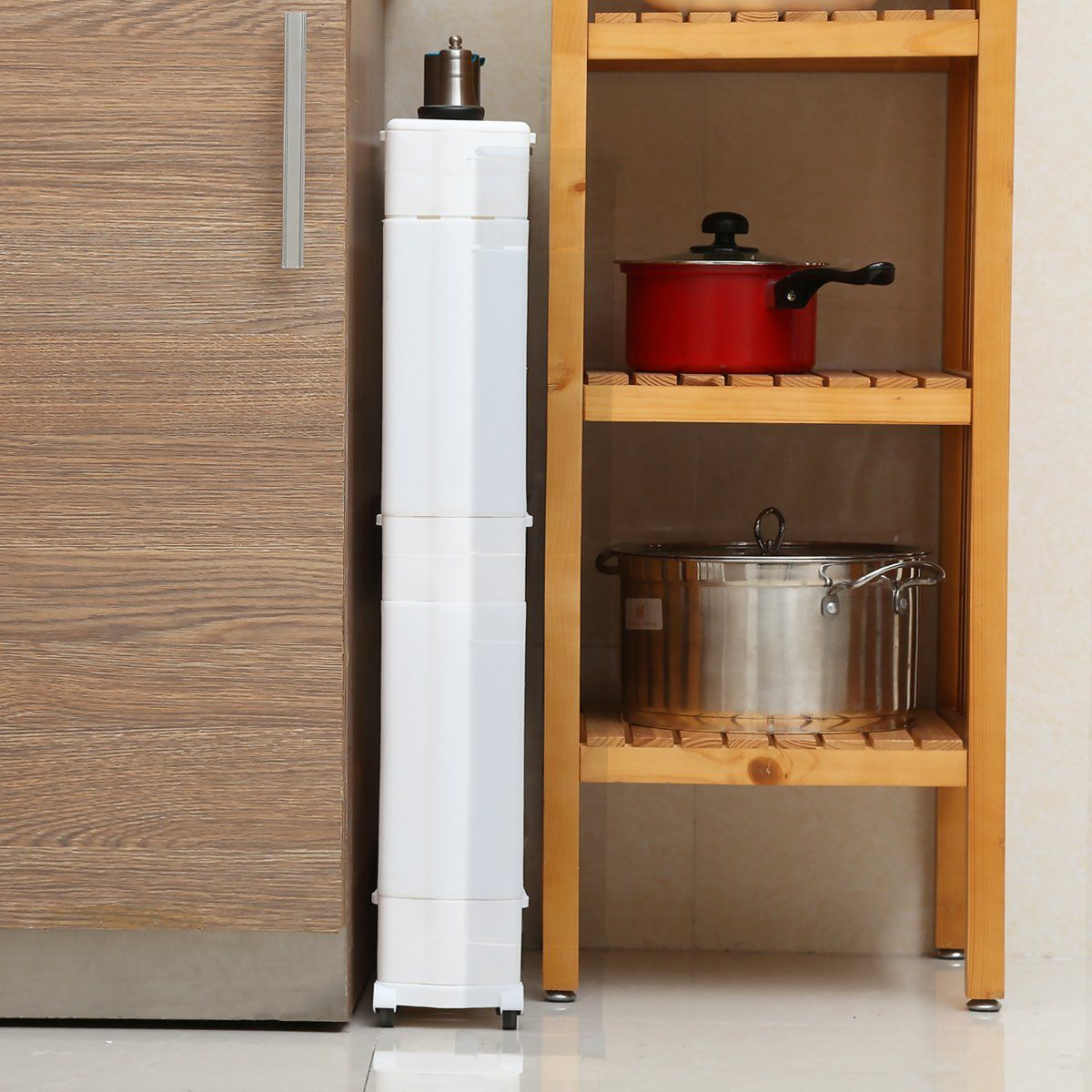Creatwo Slim Rolling Storage Cart 3 Tiers Mobile Narrow Kitchen Cart On Wheels For Kitchen And Laun Kitchen Carts