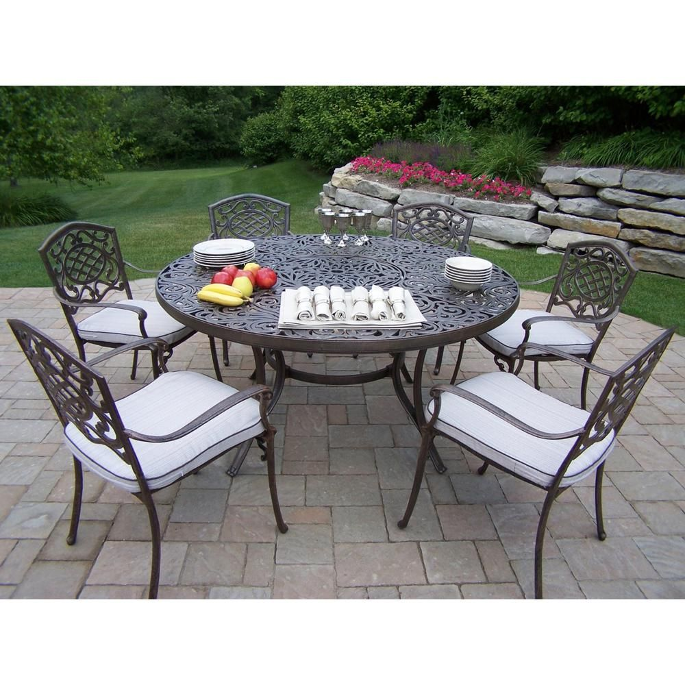 mississippi 7 piece aluminum outdoor dining set with oatmeal rh pinterest com