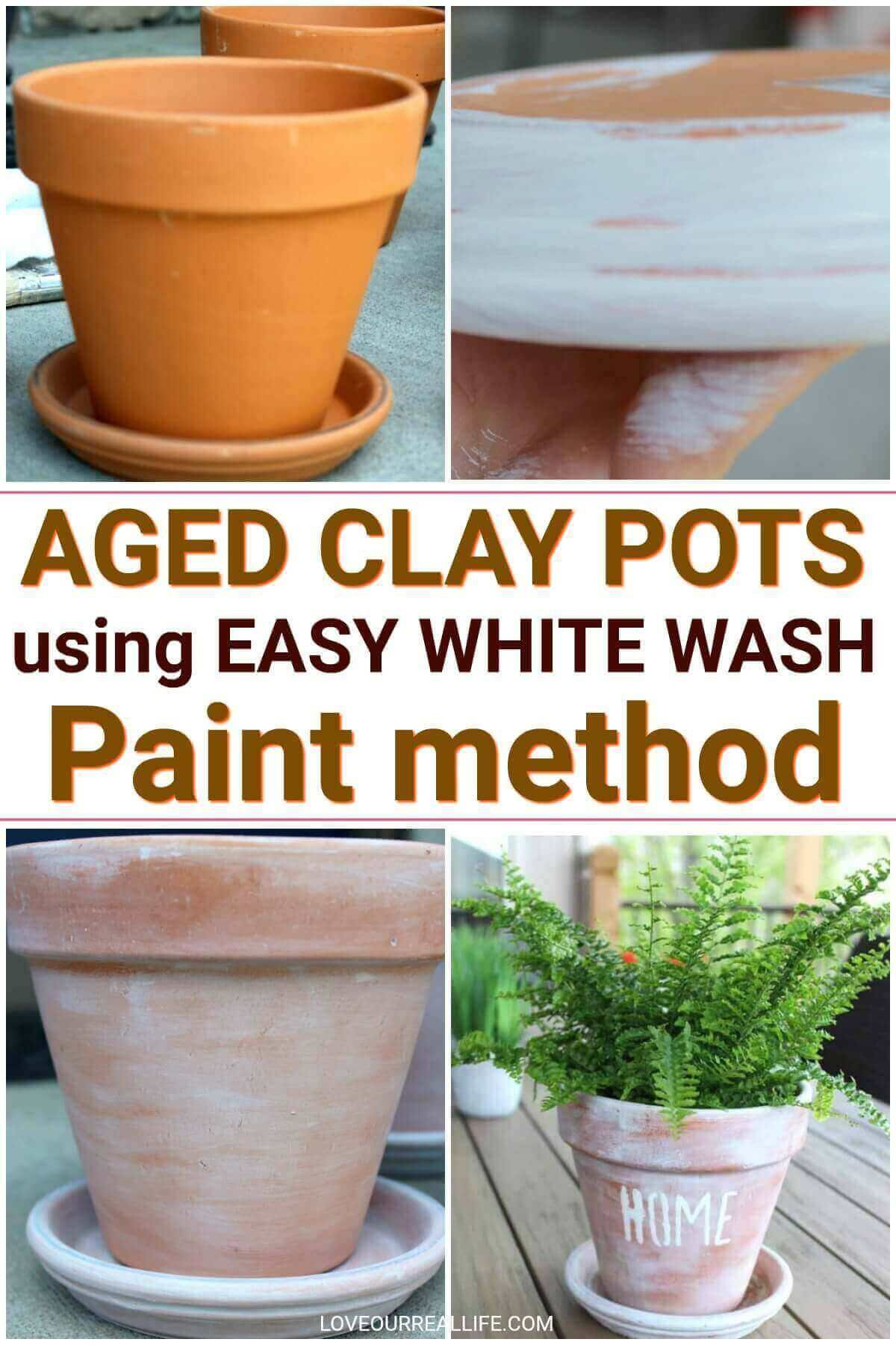 Easy Tutorial For White Washed Terra Cotta Pots Love Our Real Life Aging Terra Cotta Pots Terracotta Pots Clay Pots