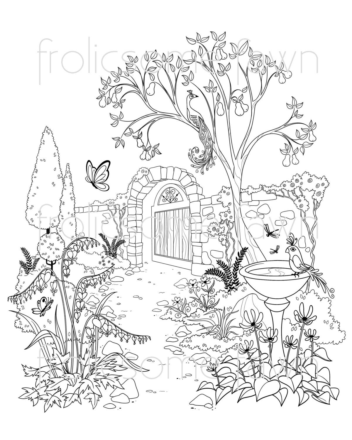 Garden Coloring Page For Adults And Children Fantasy Garden Etsy Garden Coloring Pages Coloring Pages Coloring Books
