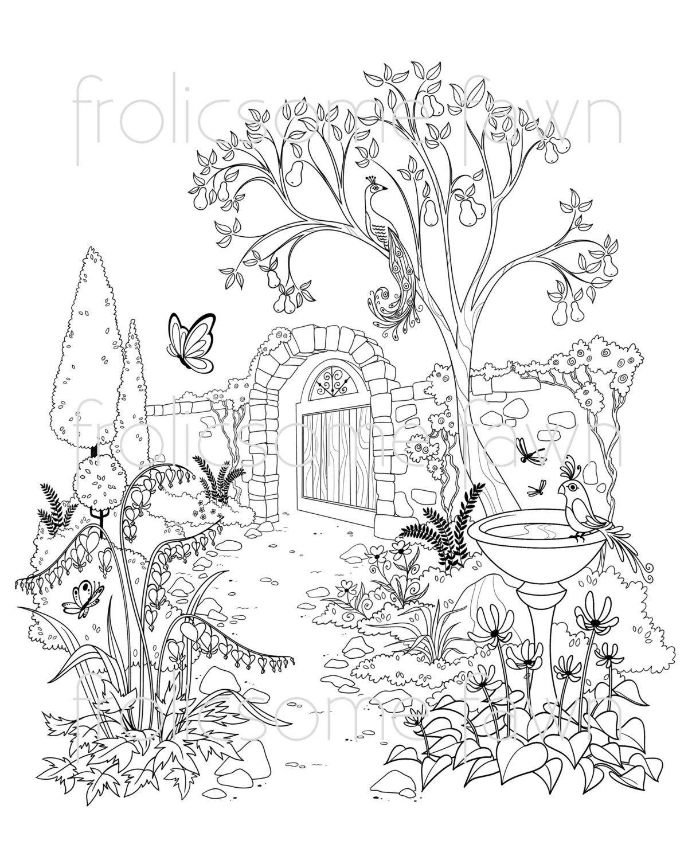 Ausmalbilder Für Erwachsene Landschaften : Garden Coloring Page For Adults And Children Fantasy Garden