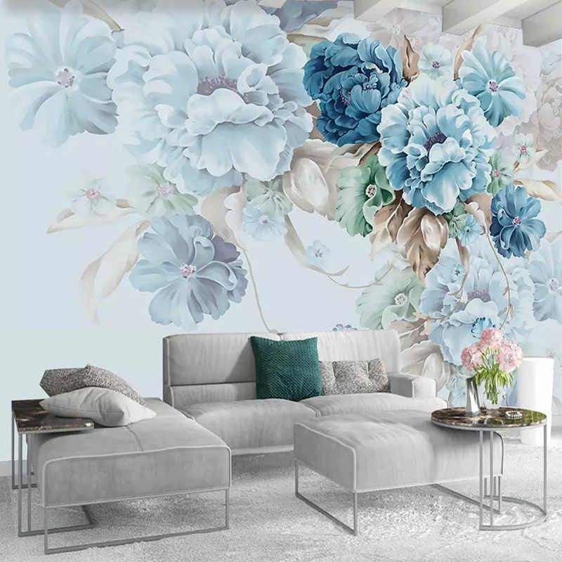 Custom Wallpaper Nordic Style Hand-painted Peony Floral Pastoral Mural Living Room TV Background Wall Painting Papel De Parede