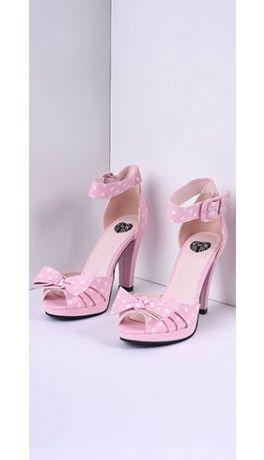 TUK Baby Pink & White Dot & Bow Vegan Starlet Peep Toe Heels