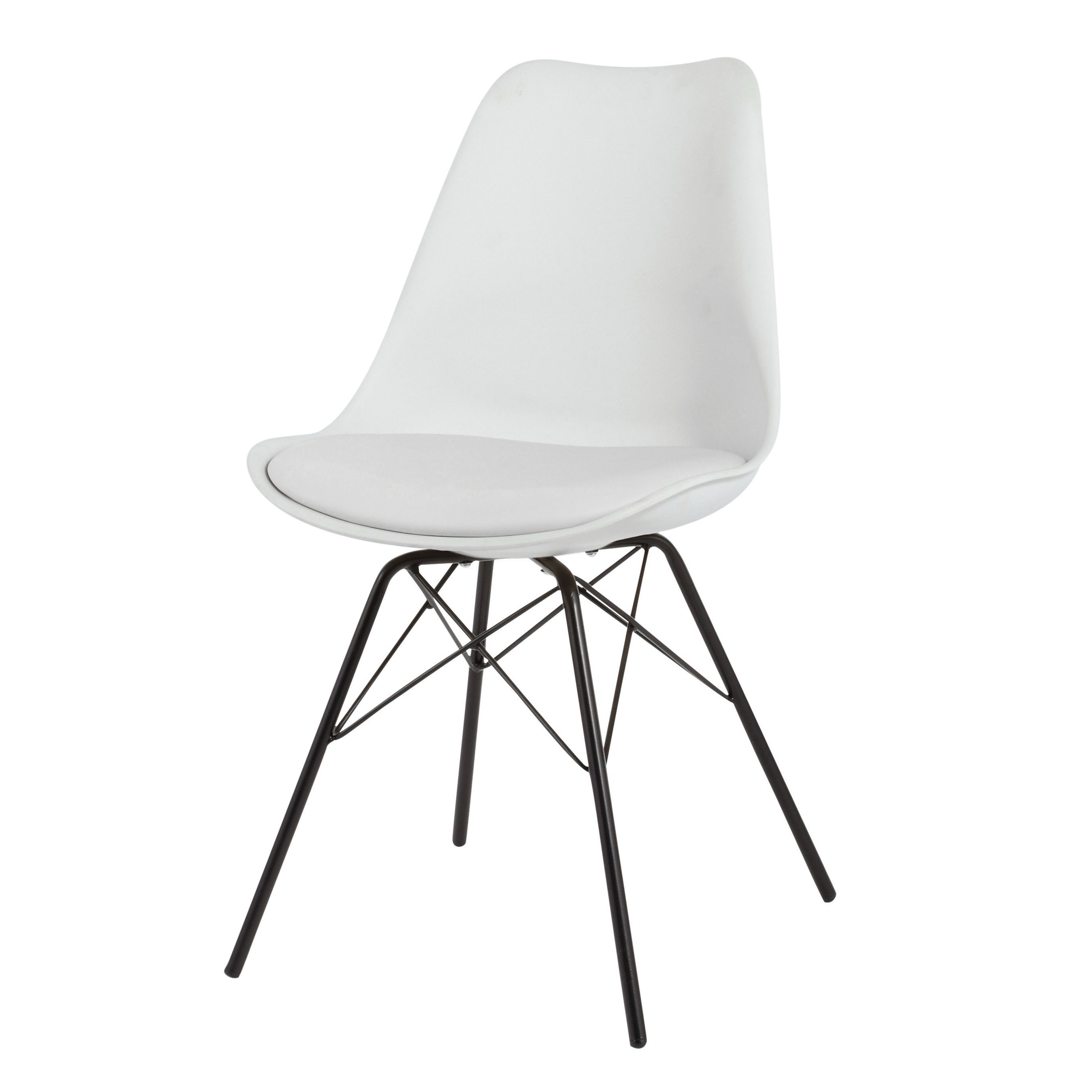 chaise blanche en polypropyl ne et m tal noir coventry