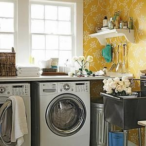 Laundry Mud Rooms Yellow Wallpaper White Washer Dryer
