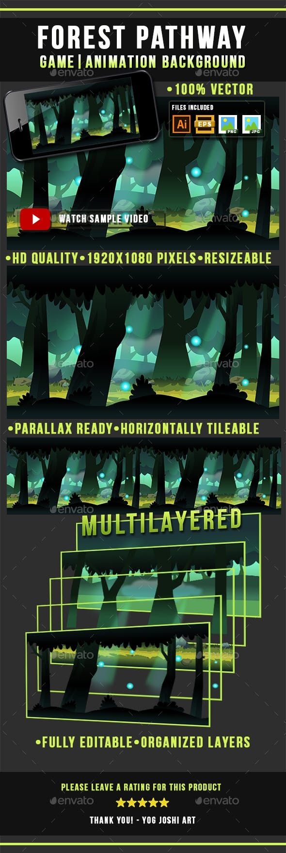 Forest Pathway Game Background Side Scrolling Game