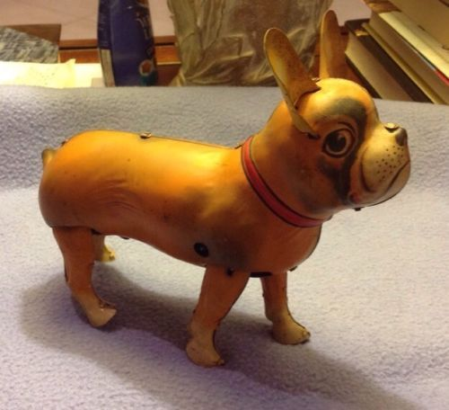 Vintage Tin Toy German French Bulldog Windup Working From Estate