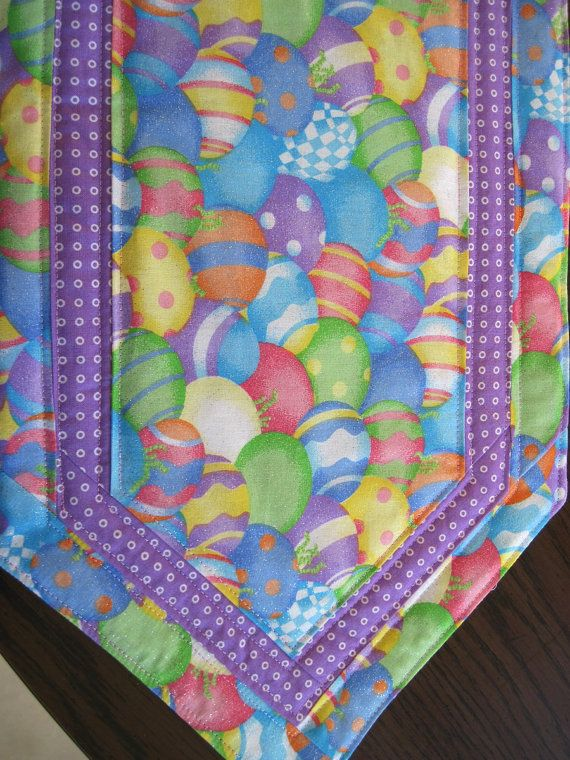 Quilted Table Runner Pastel Easter Eggs With Purple My