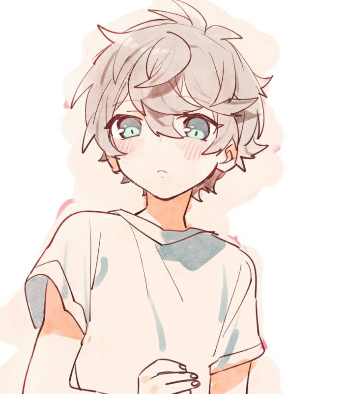 adorable anime boy curly hair character reference