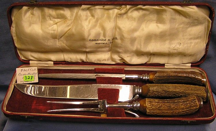 Sheffield Bone Handled Carving Knife Set With Original Box