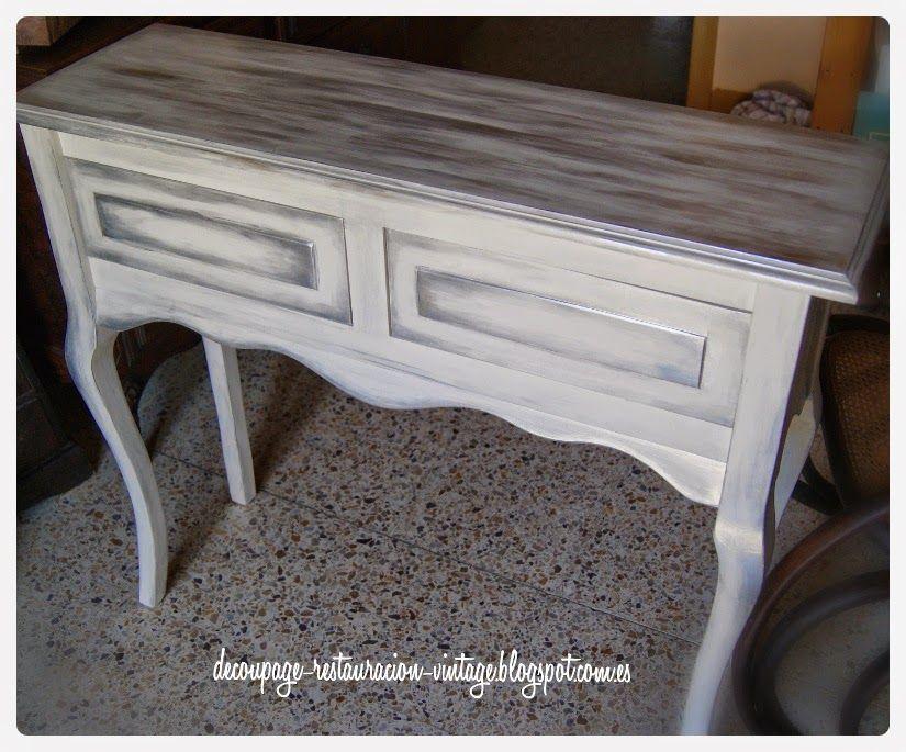 Pintar Muebles Nuevos De Madera En Un Acabado Blanco Y Plateado Restauracion De Muebles Mueble Pintado Como Pintar Muebles