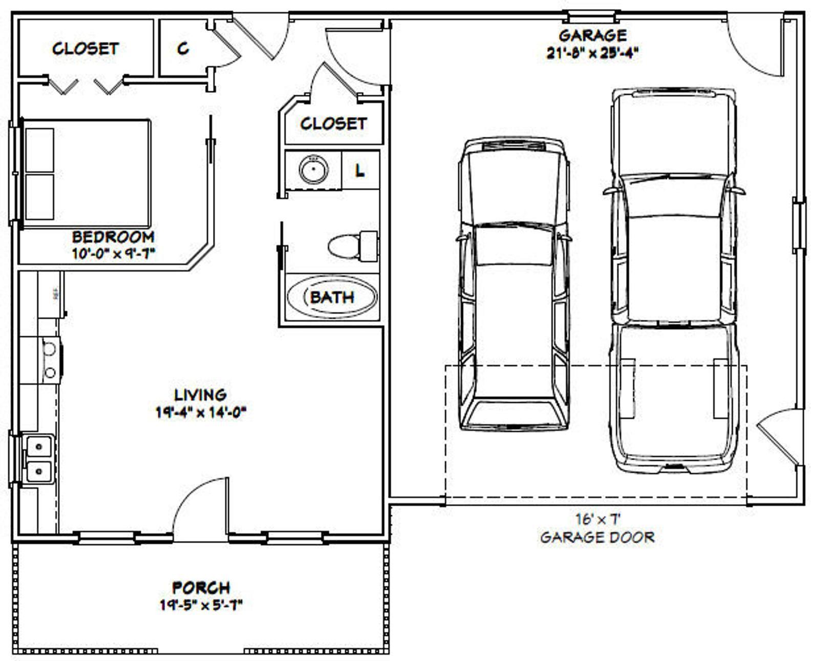 42x28 2 Car Garage 1130 Sq Ft Pdf Floor Plan Instant Etsy In 2021 Garage Apartment Floor Plans Garage Plans With Loft Garage Plans Detached