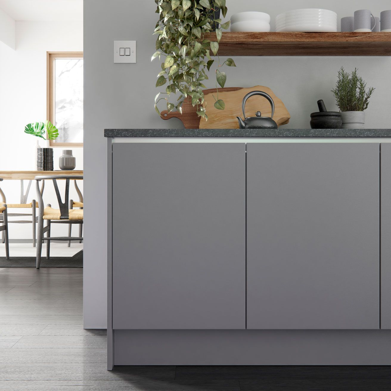 Super Matt Grey Kitchen Doors With Gola Profile For True Handleless - Matt grey kitchen doors