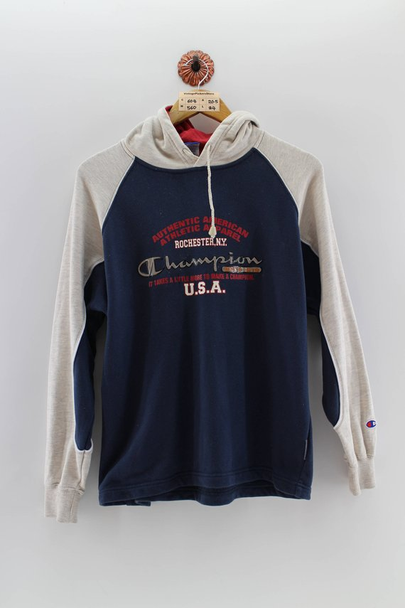 d3be79969ab9 CHAMPION Pullover Hoodie Unisex Medium Ladies Vintage 90 s Champion  Authetic American Hoodie Champio
