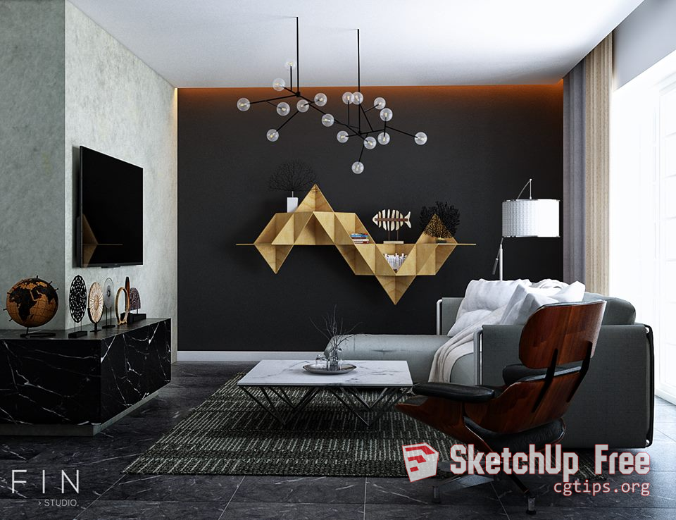 789 Interior Livingroom 1 Sketchup Model By Fin Studio Free