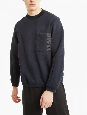 OAMC Navy Panelled Mock-Neck Sweatshirt The OAMC Panelled Mock-Neck Sweatshirt for SS17, seen here in navy. - - - Crafted from a crepe-effect cotton blend, this unique sweatshirt from OAMC features a mock-neck collar and satin panels throug http://www.MightGet.com/january-2017-13/oamc-navy-panelled-mock-neck-sweatshirt.asp