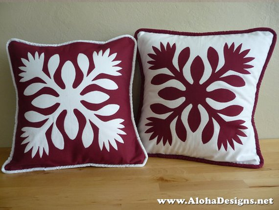 Hawaiian quilt pillow covers red lehua flowers products