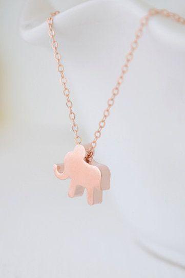 Rose gold elephant necklace 1112 a few of my favorite things items similar to rose gold elephant necklace lucky elephant necklace small elephant charm necklace little elephant jewelry olive yew 1112 on etsy aloadofball Choice Image