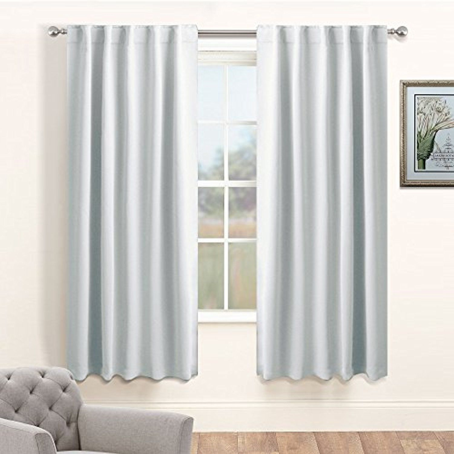 Silver White Bedroom Curtain Panels - PONY DANCE Home Decor ...