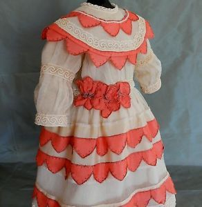 Antique Lace tulle & wool doll dress Antique French BEBE JUMEAU Kestner doll