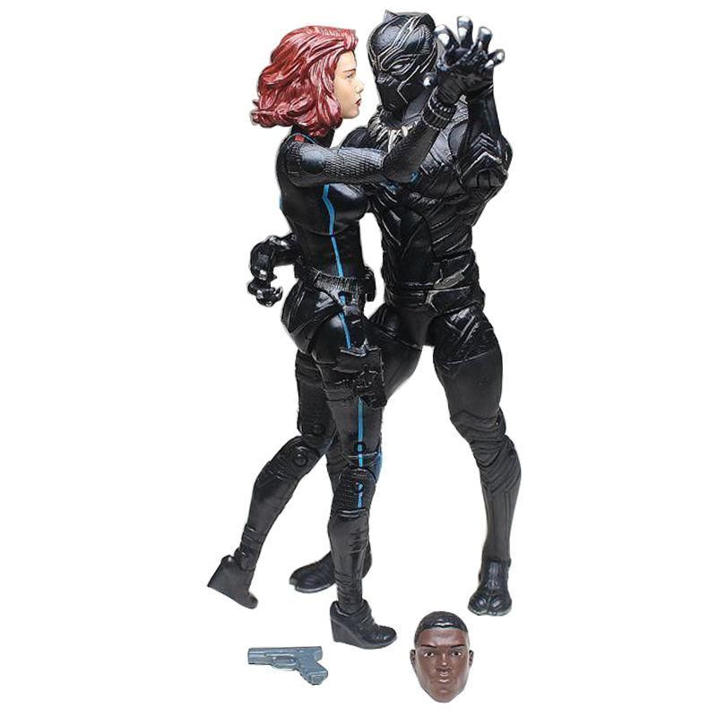 6Marvel Black Panthers And BLACK WIDOW Action Figure Toy Civil War Super Hero
