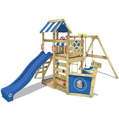 WICKEY Aire de jeux SeaFlyer Portique de jeux en bois avec - Maisonnette En Bois Avec Bac A Sable
