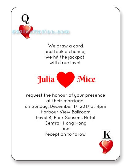 Las Vegas Playing Cards Vegas wedding invitations Las vegas