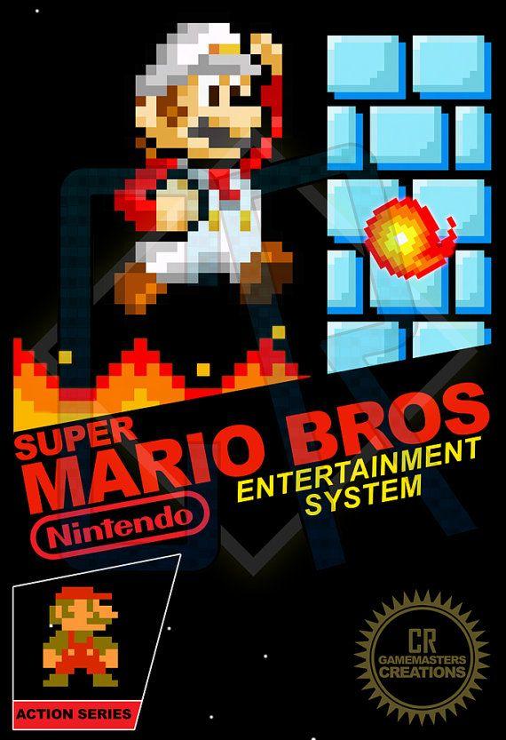 Super Mario Nes Cover 8 Bit Pixel Poster Pixel Art Nintendo Poster
