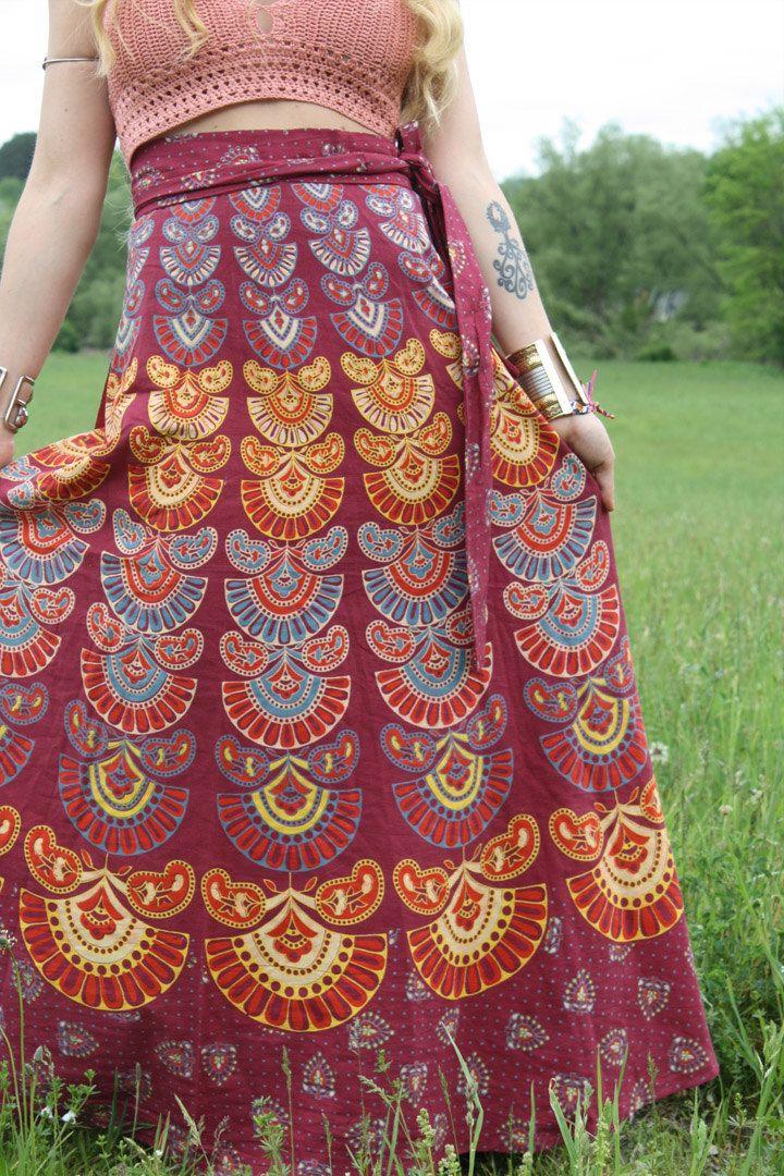 Peacock, Long Hippie Wrap Skirt, Organic, Bohemian Skirt, Cotton ...