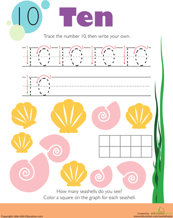 Tracing Numbers & Counting: 10 | Worksheets, Fun worksheets and ...