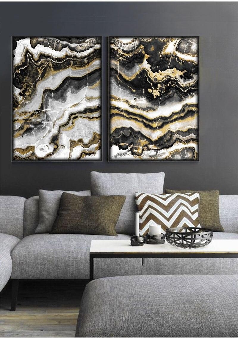 Black Gold Marble Abstract Wall Art Modern Luxury Fine Art Canvas Prints Abstract Wall Art Wall Decor Living Room Black And Gold Marble
