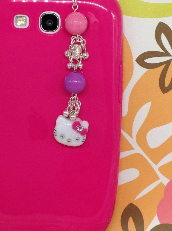 45c723861 Kitty cell phone charm, headphone jack charm, dust plug, dust plug charm,  iphone charm, kawaii charm