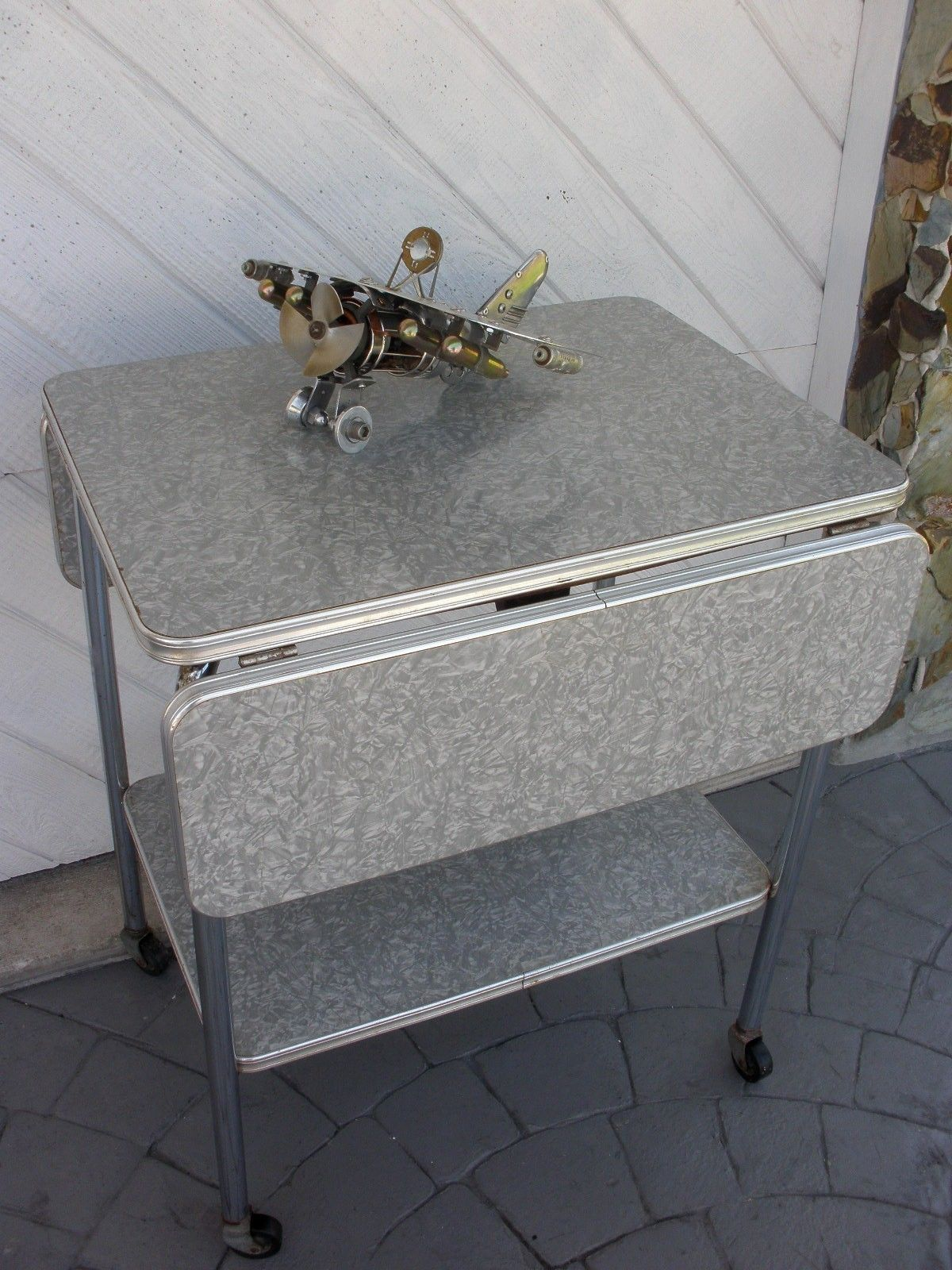 AWESOME 50s KITCHEN DROP LEAF SERVING CART MID CENTURY TABLE MOD ...
